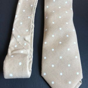 handmade Accessories - Beige and white polka dot cotton tie